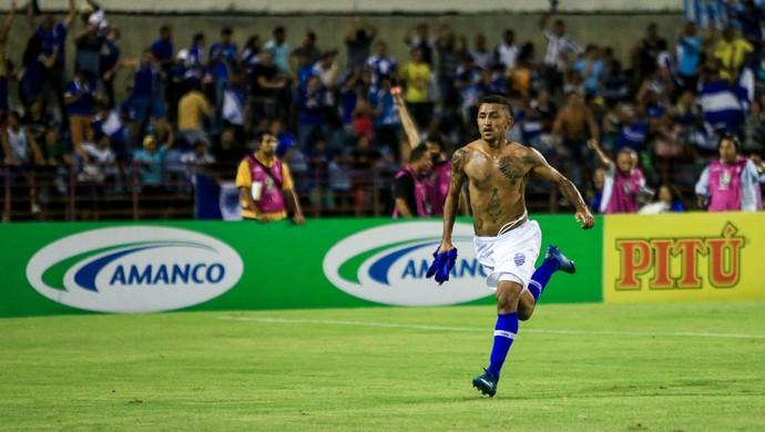 Thiago Potiguar comemora o gol da vitória do CSA no clássico contra o CRB (Foto: Ailton Cruz / Gazeta de Alagoas)