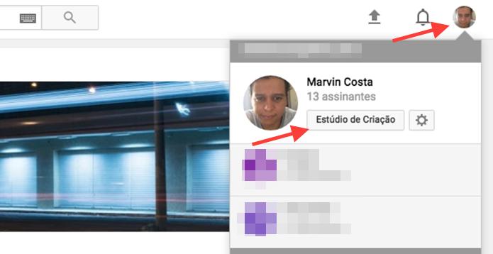 Caminho para acessar o estúdio de criação de um canal no YouTube (Foto: Reprodução/Marvin Costa)