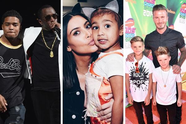 Justin Dior Combs e o seu pai, Sean John Combs; North West com a mãe, Kim Kardashian; e David Beckham ao lado dos filhos Romeo e David Beckham (Foto: Getty Images)