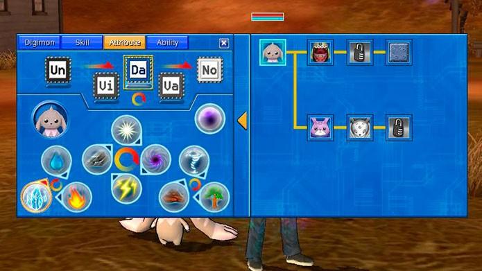 Aperte X para ver os atributos e habilidades do seu Digimon (Foto: Reprodução/Tais Carvalho)