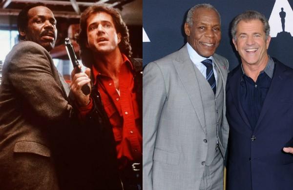 Mel Gibson e Danny Glover em Máquina Mortífera e nos dias de hoje (Foto: Reprodução/Getty Images)