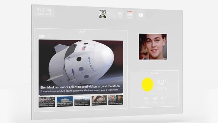 Espelho exibe notificações, sites, música, calendário e vídeos (Foto: Divulgação/DuoAI)