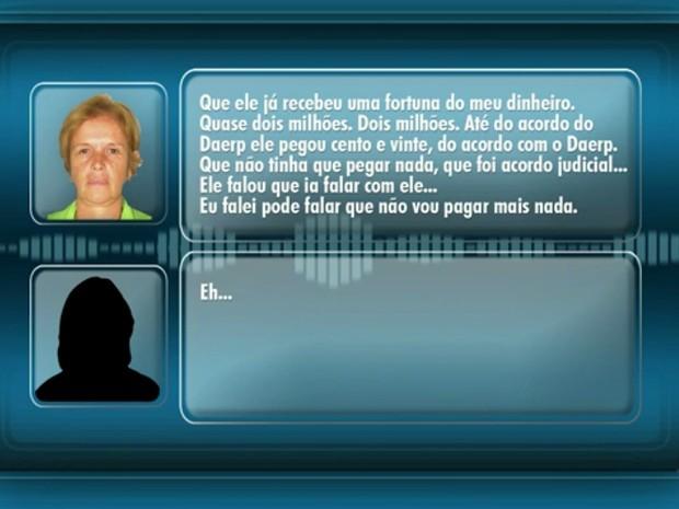 Em áudio, Maria Zuely Librandi diz ter pago R$ 2 milhões em propina a Marco Antônio dos Santos (Foto: Reprodução/EPTV)