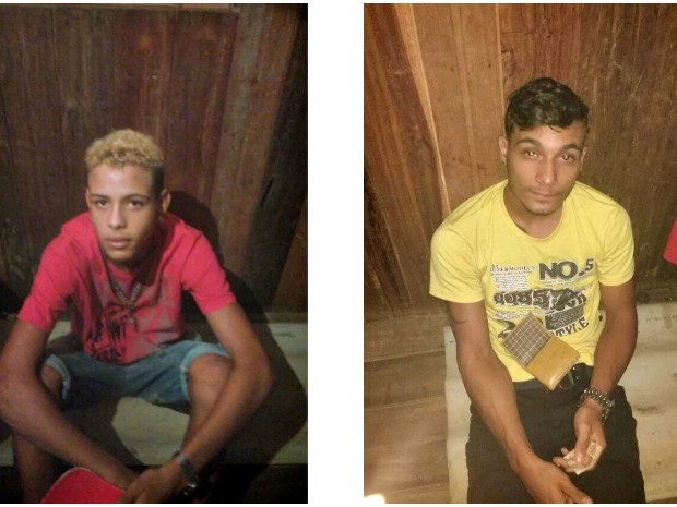 Richard Rodrigues, de 16 anos, (de camisa vermelha) e Lucas Dennedy Freire de Souza, de 20 anos, (camisa amarela) foram fotografados em cativeiro por membros de facção antes de serem decaptados (Foto: Divulgação/Polícia Civil )