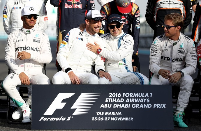 Jenson Button e Felipe Massa se aposentaram da Fórmula 1 no GP de Abu Dhabi deste domingo (Foto: Getty Images)