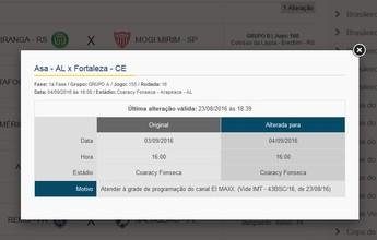 Para atender pedido de TV, CBF altera data da partida entre ASA e Fortaleza