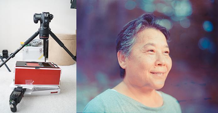 À esquerda, o scanner caseiro completo, com caixa de sapato, tripé, disparador de flash e câmera com lente macro equipada (Foto: Divulgação/Kun Xu)