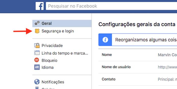 Caminho para visualizar a opção para atualização de senha do Facebook  (Foto: Reprodução/Marvin Costa)
