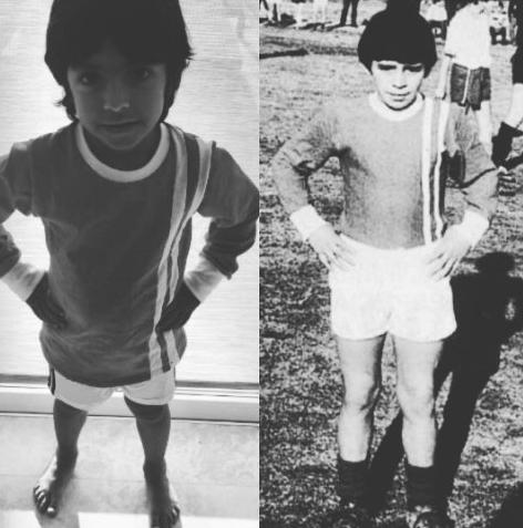 BLOG: Neto de Maradona veste a primeira camisa que o avô usou na carreira