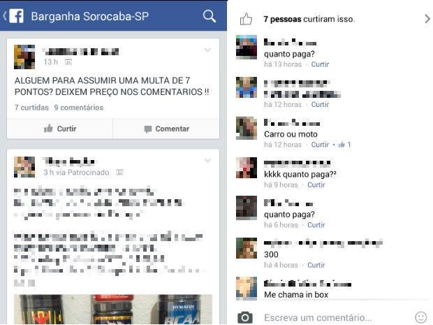Rede social foi usada para comercializar pontos na CNH em Sorocaba (Foto: Reprodução)