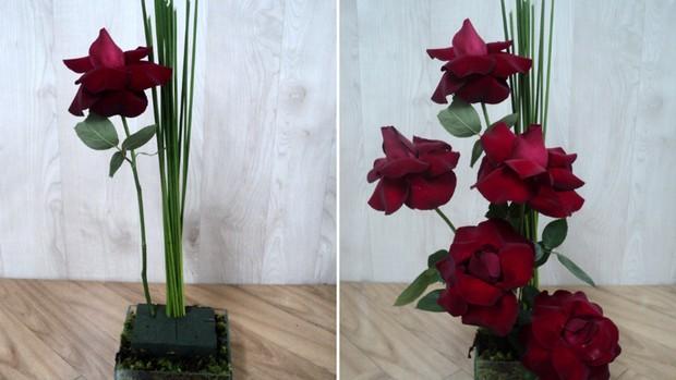 Passo 4: Após fincar o junco, comece a colocar as rosas na espuma, alternando flores de tamanhos diferentes. O tom desigual deixa o arranjo mais natural e elegante. (Foto: Divulgação/Sind.Flores e Plantas de SP)