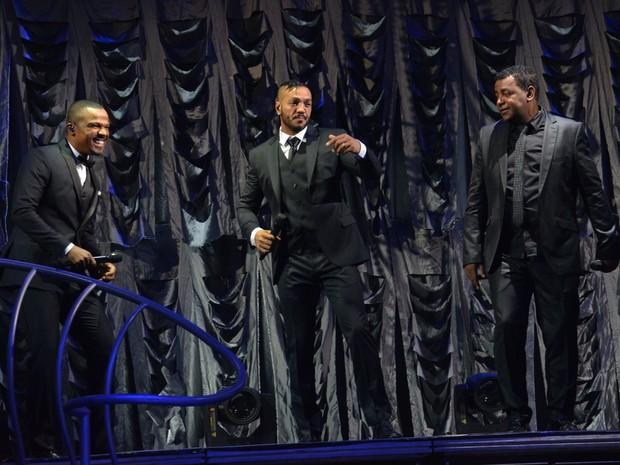 Alexandre Pires, Belo e Luiz Carlos em show no Recife (Foto: Felipe Souto Maior/ Ag. News)