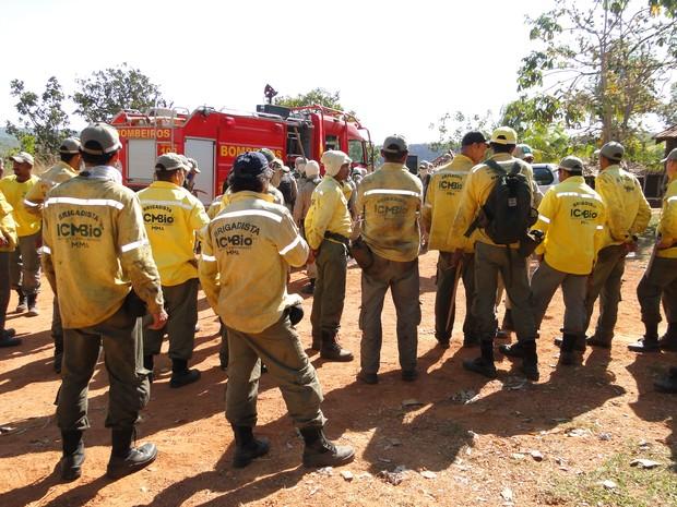 Brigadistas do  ICMBio estão com 30 bombeiros no combate a focos de fogo (Foto: Flávia Bertier/ ICMBio)