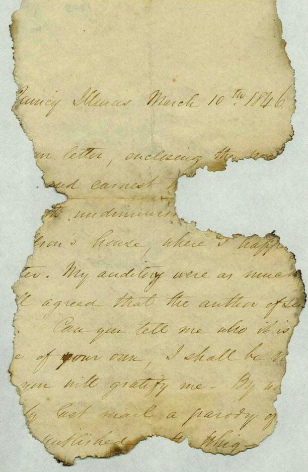 Fragmento da carta enviada ao futuro presidente americano Abraham Lincoln (Foto: AP)
