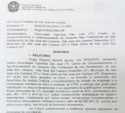 Sentença Régis Marrelli denúncia (Foto: Reprodução)