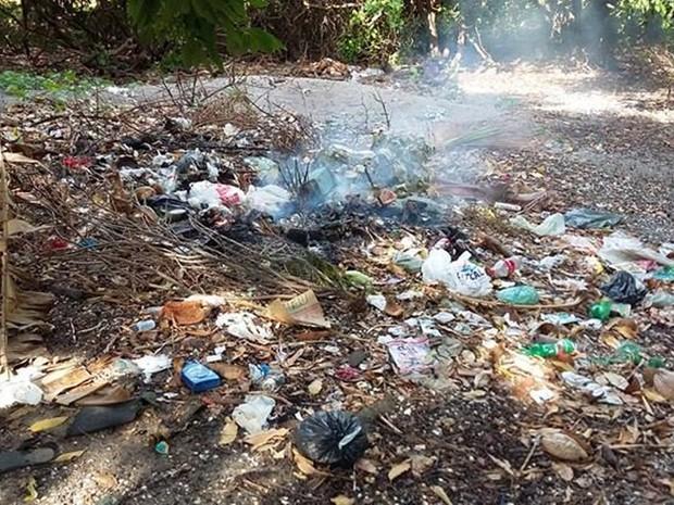 Resíduos sólidos são descartados em áreas de mata da APA e em alguns casos são queimados, em Rio Tinto (Foto: Kleide Teixeira/Arquivo Pessoal )