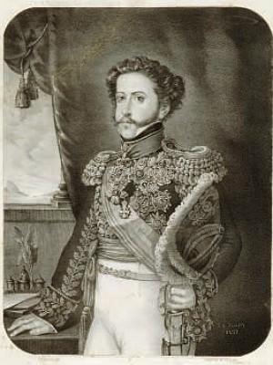 Litografia Dom Pedro I por Sebastien-Auguste Sisson (Foto: Rômulo Fialdini/ Catálogo Banco Safra)