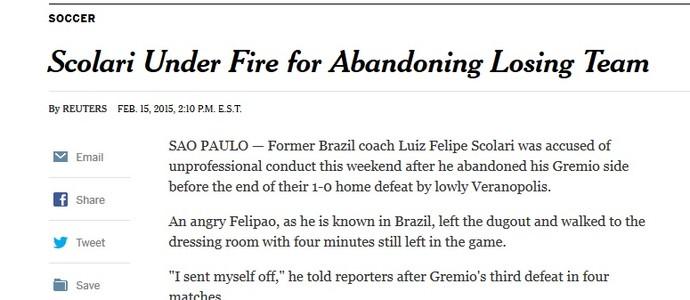 The New York Times reproduziu matéria distribuída por agência internacional de notícias (Foto: Reprodução/The New York Times)