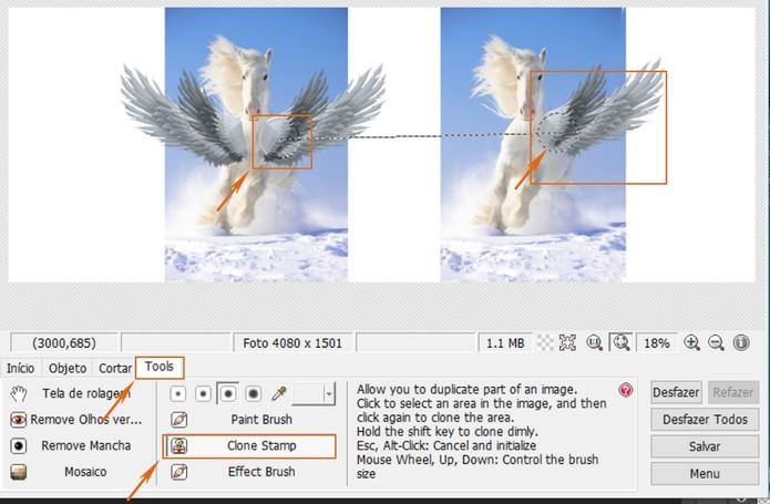 Clone a parte de uma imagem na outra para fazer a montagem (Foto: Reprodução/Barbara Mannara)