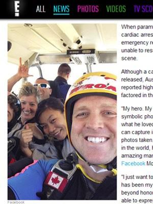 Brandon McGraw em foto publicada por sua mulher no Facebook (Foto: Reprodução/E! Online)