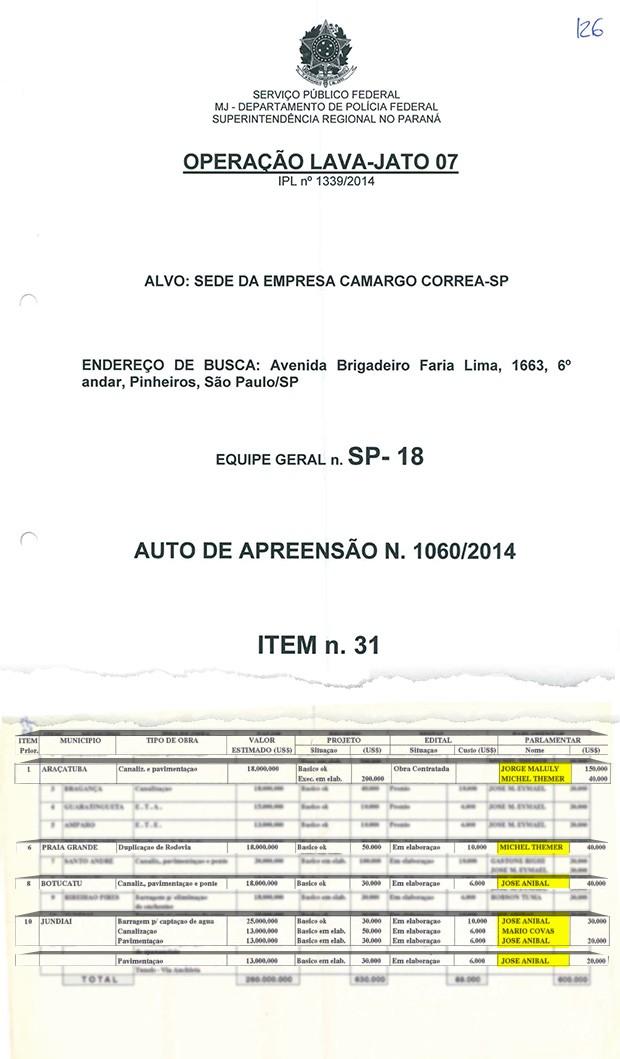 Documento apreendido na Camargo Correa na operação Lava Jato (Foto: época)