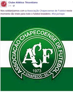 Tricordiano lamenta acidente da Chapecoense (Foto: Divulgação Tricordiano / Reprodução Facebook)