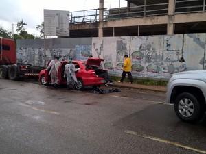 O veículo estava em frente à Superintendência de Castanhal, nordeste do Pará. (Foto: Reprodução/TV Liberal)