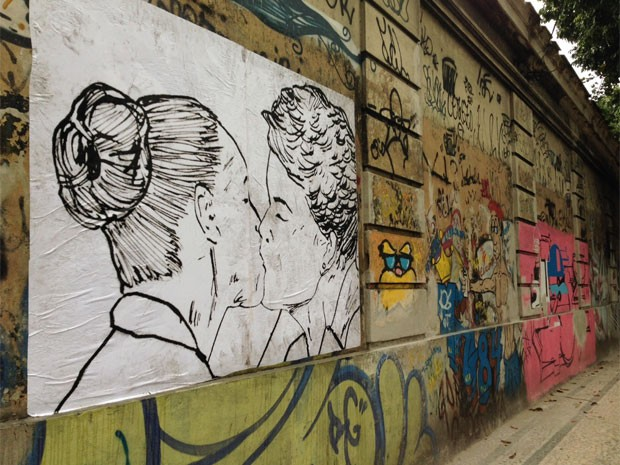 Desenho de Cela Luz está em novo endereço, na Rua Jardim Botânico (Foto: Káthia Mello / G1)