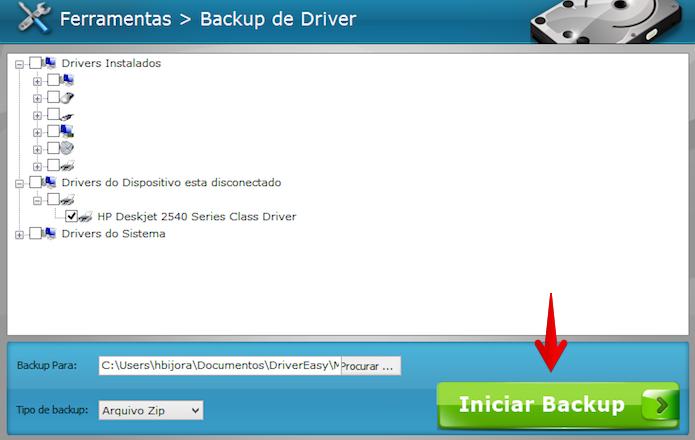 Selecione os drivers desejados e inicie o processo de backup (Foto: Reprodução/Helito Bijora)