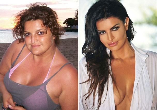 Antes e depois de Jennifer Gimenez (Foto: Arquivo pessoal e Reprodução/Instagram)