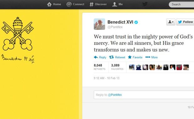 Imagem do post do perfil oficial do Papa Bento XVI no domingo (10) no Twitter (Foto: Reprodução/Twitter)