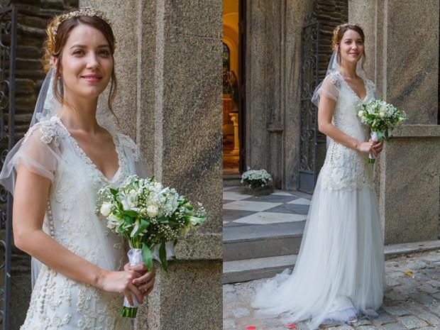 Mais detalhes do vestido que Nathalia Dill usará na cena do casamento de Laura com Marcos (Foto: Artur Meninea / Gshow)