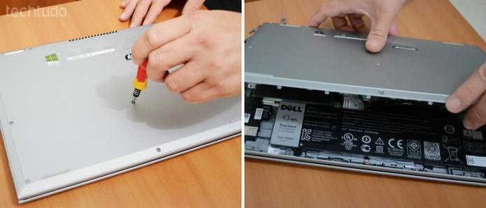 Para iniciar a instalação física do disco SSD, abra a tampa inferior do notebook  (Foto: Adriano Hamaguchi/TechTudo)