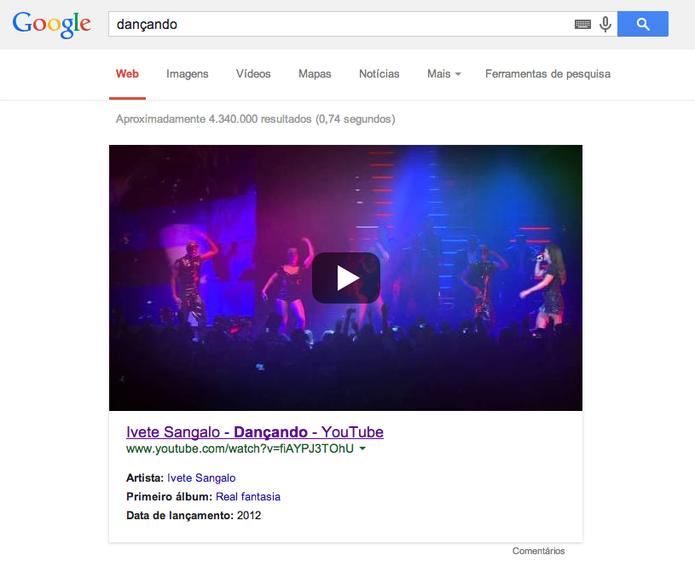 Busca por 'dançando' mostra como resultado hit de Ivete Sangalo (Foto: Reprodução/YouTube)
