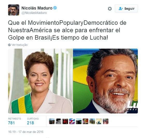 Reprodução do Twitter de Nicolás Maduro (Foto: Reprodução)