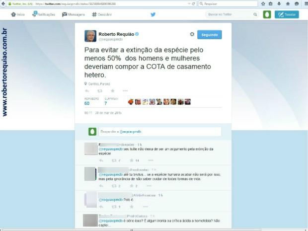 Tuíte do senador Roberto Requião (PMDB-PR) causou polêmica nesta segunda-feira (30) (Foto: Reprodução / Twitter)