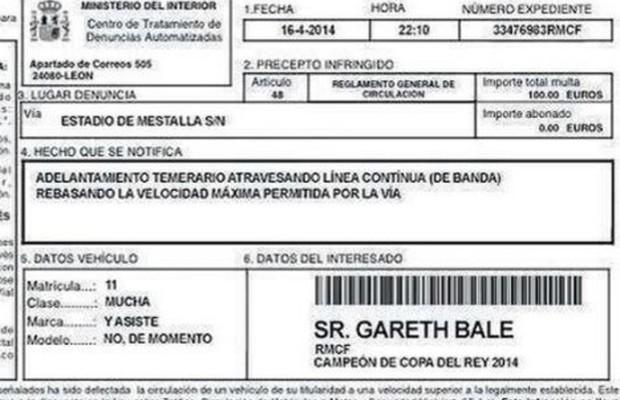Multa de velocidade falsa para Garath Bale (Foto: Reprodução)
