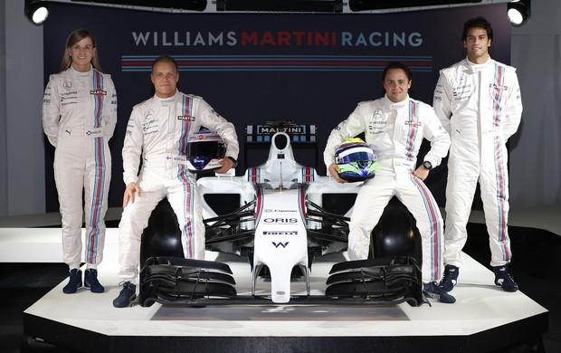 Felipe Nasr ao lado dos titulares Felipe Massa e Valtteri Bottas, e da pilota de desenvolvimento Susie Wolff (Foto: Divulgação)