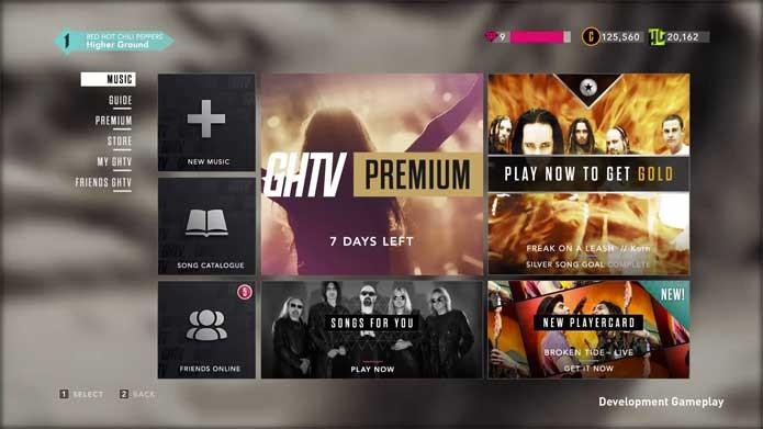 Menu com as moedas correntes de Guitar Hero TV (Foto: Divulgação/Activision)