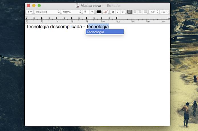 Sugestão de palavras do Mac OS X Yosemite (Foto: Reprodução/Marvin Costa)