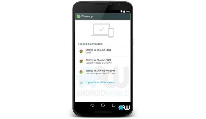 Layout do WhatsApp mostra vários navegadores conectados ao mensageiro (Foto: Reprodução/Android World)