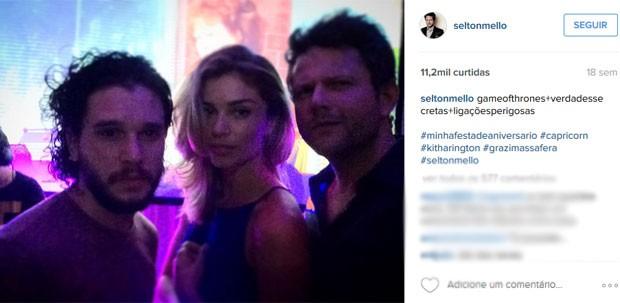Kit Harington, Grazi Massafera e Selton Mello (Foto: Reprodução/Instagram/seltonmello)