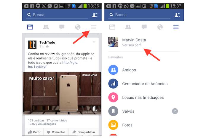 Acessando o perfil de usuário do Facebook no Android (Foto: Reprodução/Marvin Costa)