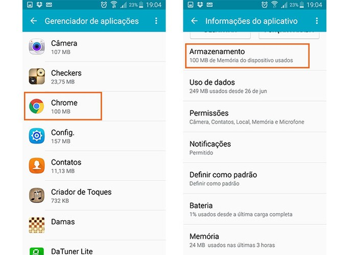 Veja o armazenamento do Chrome nas configurações do Android (Foto: Reprodução/Barbara Mannara) (Foto: Veja o armazenamento do Chrome nas configurações do Android (Foto: Reprodução/Barbara Mannara))