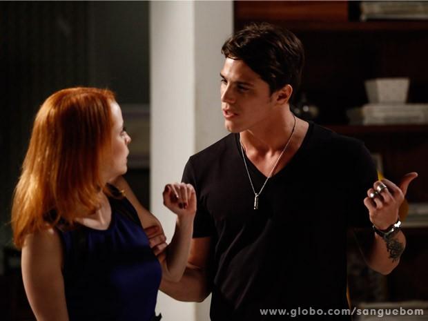 Tito vai atrás de Lara tirar satisfações com a ex-noiva (Foto: Sangue Bom/ TV Globo)