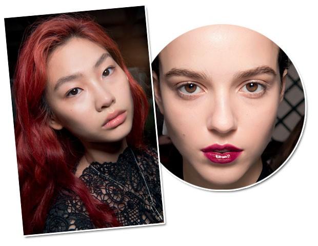 Vermelho em alta também nos cabelos. Para atualizar o batom nos lábios, passe uma camada de gloss por cima (Foto: Imaxtree)