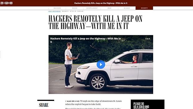 Hackers usaram um Jeep Cherokee 2014, mas outros modelos também estão sucetíveis (Foto: Reprodução/Wired)