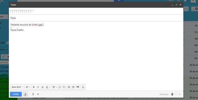 Escreva e envie um e-mail normalmente pelo Gmail (Foto: Reprodução/Taysa Coelho)
