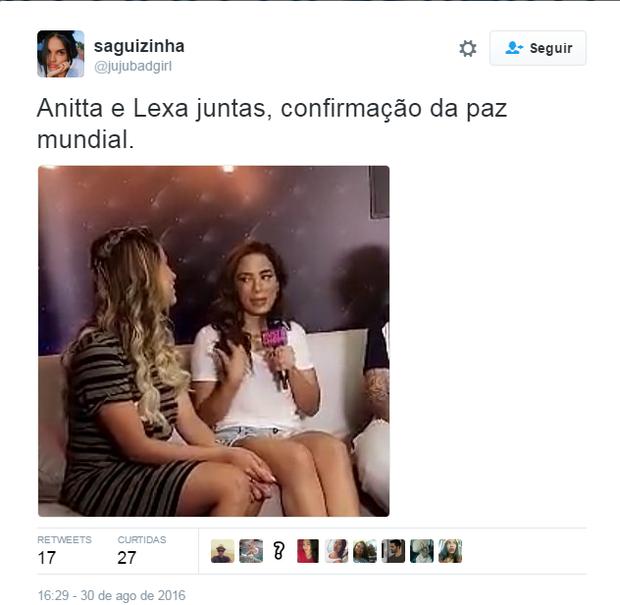 Encontro de Anitta e Lexa repercute (Foto: Reprodução/Twitter)