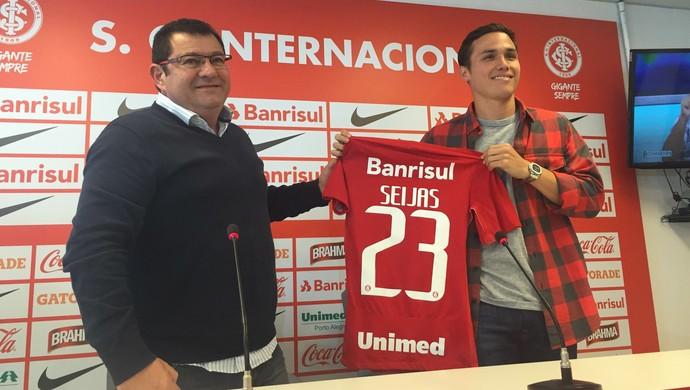 Internacional Inter Luis seijas Inter apresentação Seijas (Foto: Tomás Hammes/GloboEsporte.com)